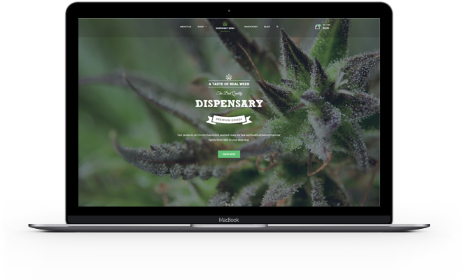 Screenshot of sample dispensary website home page